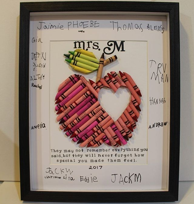 #teacherappreciation gifts get even more #personalized when the whole class signs the gift! I adore little kid handwriting!
