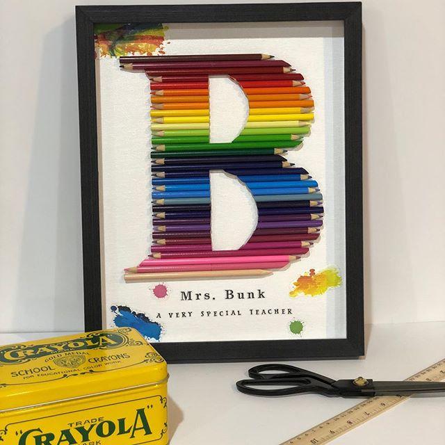 Cut Colored Pencil Monogram rainbow