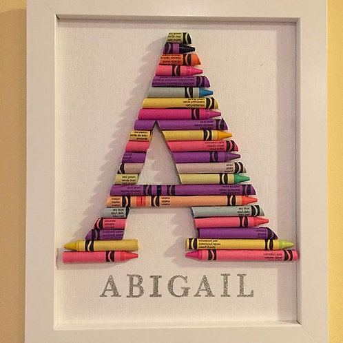Custom Crayon Monogram, Framed, Small size 8x10 ~ Personalized Baby Gift