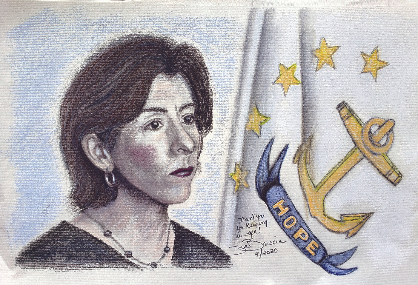 Charcoal of Gov. Gina Raimondo