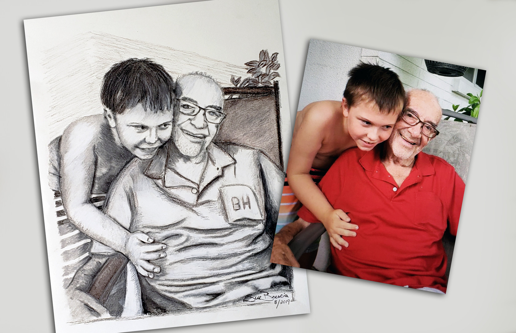 Charcoal of Grandfather, Grandson