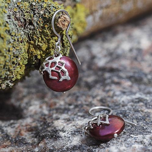 Earrings -Pearl Cherries - Sterling Silver