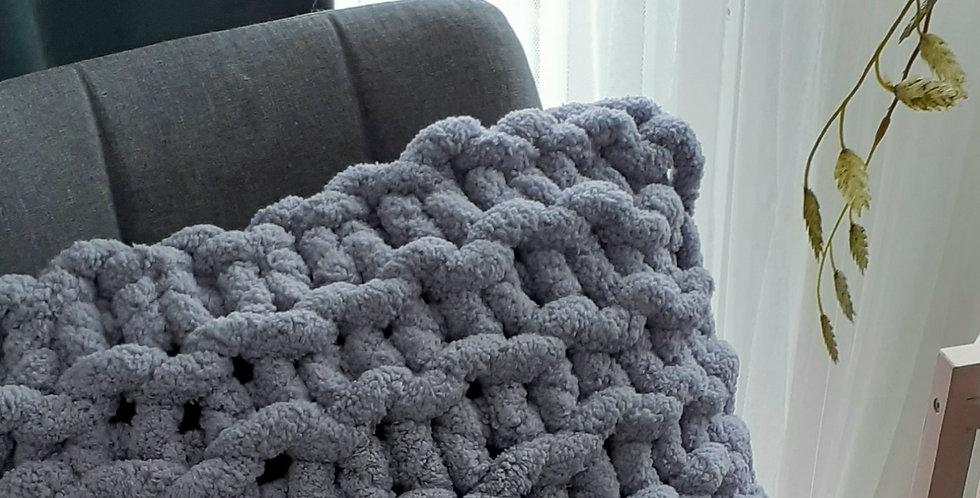 chunky knit chenille cushion -silver grey blue