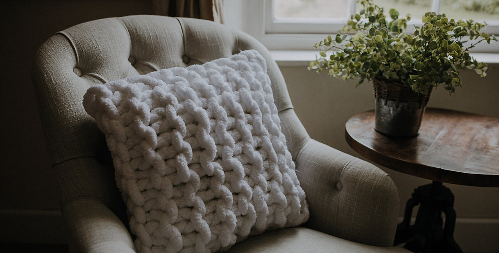 chunky knit chenille cushion - pure white