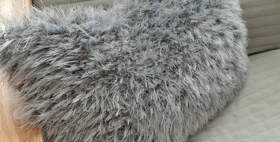 silver grey fluffy lumbar cushion