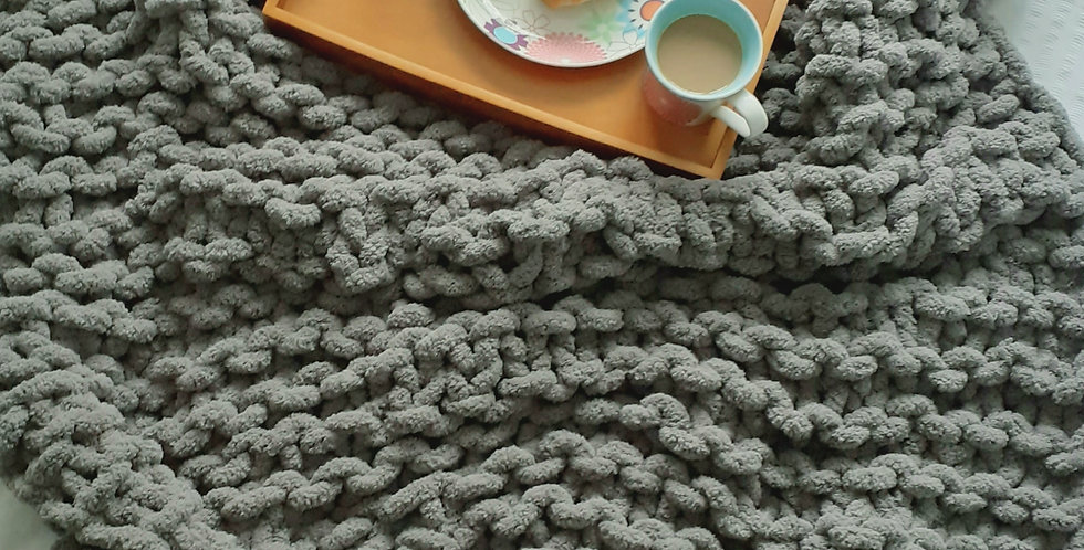 chunky knit large blanket-grey chenille