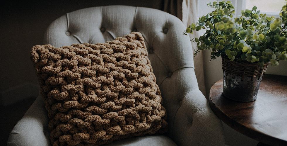 chunky knit chenille cushion - sand