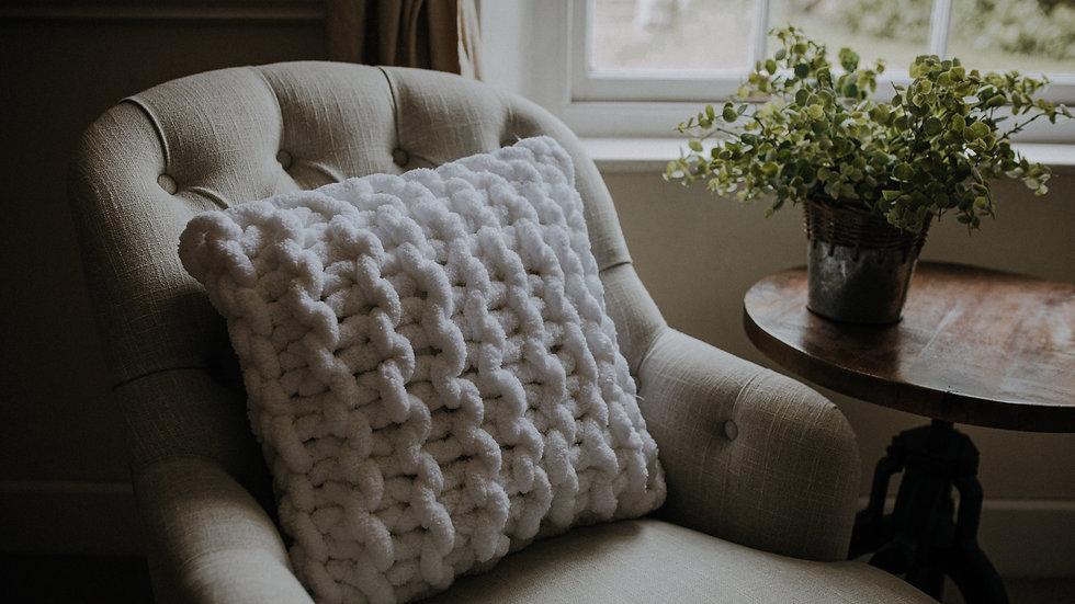 chunky hand knit cushion
