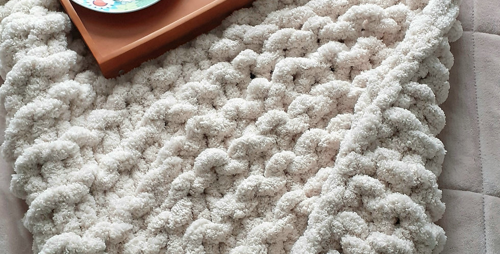 chunky knit double bed blanket-cream chenille