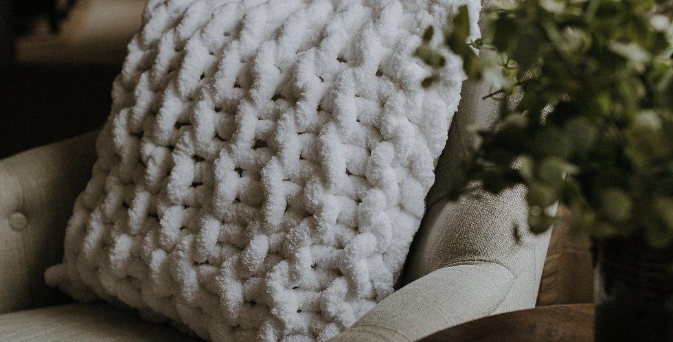 chunky knit chenille cushion -soft white