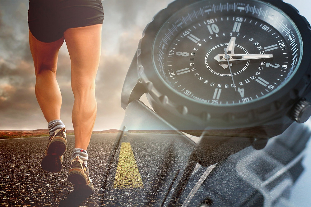 A man is running while an image of the clock reminds the importance of the time