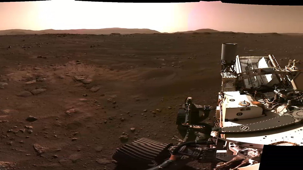 Perseverance having the first view on Mars surface on 2021