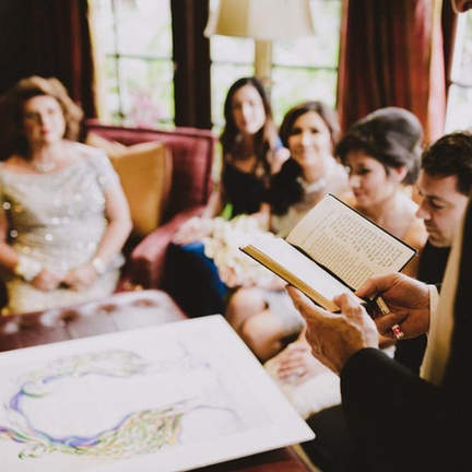 Blessing the bridal party