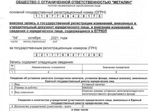 """Компания """"Металин"""" увеличила Уставной капитал  04.10.2021"""