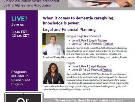 Alzheimer's Association Legal and Financial Planning Webinar