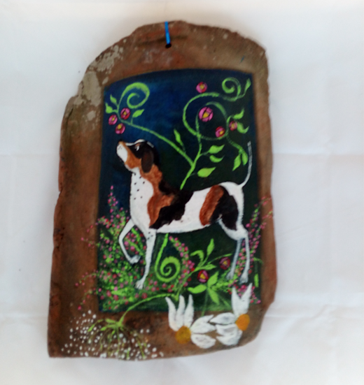 Naive Art Dog painted on a curved Pan Tile