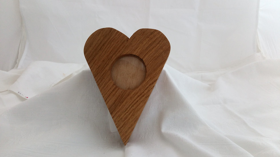 Heart Shaped Wooden Photo Frame - Oak