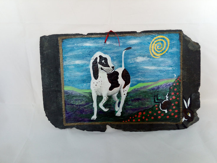 Naive Art painted on a Slate - Dog and Hare