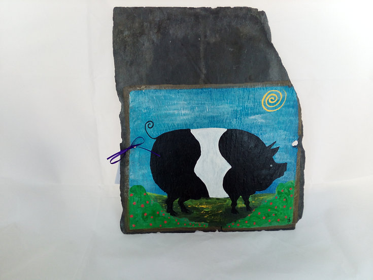 Naive Art Black and White Pig painted on a slate