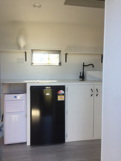 york caravan kitchen cabinets and fridge