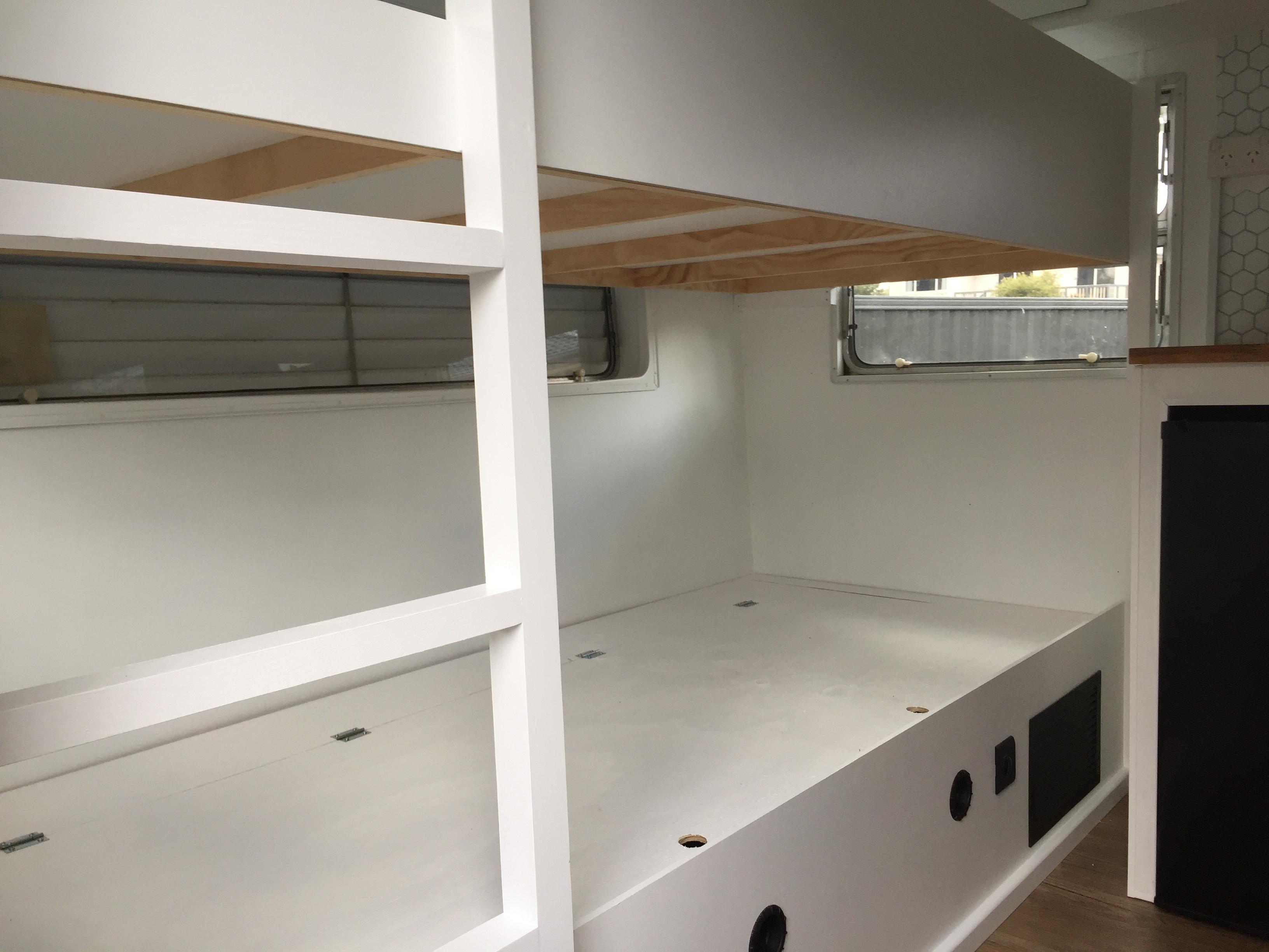 Sarah caravan renovation bunk beds