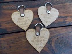 Wooden heart keyrings