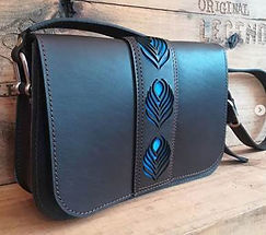 Leather POP with Peacock motif