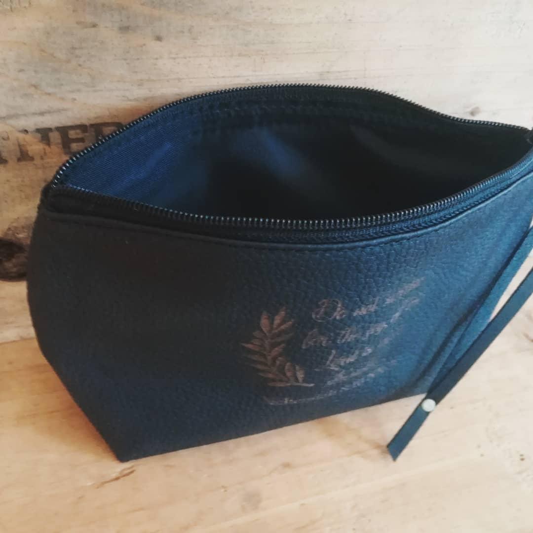 Black Leather Makeup Bag