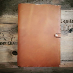 Tan leather Press Stud close