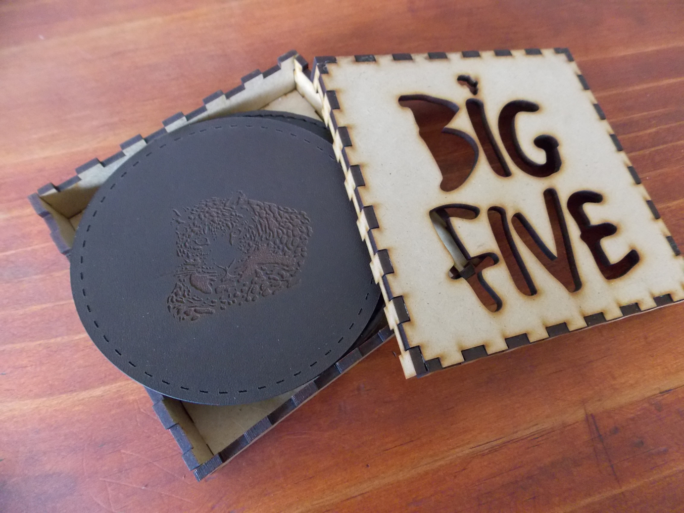 Big Five box and coasters