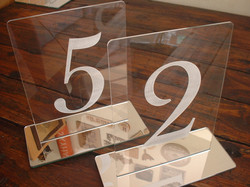 Mirror and perspex table talkers