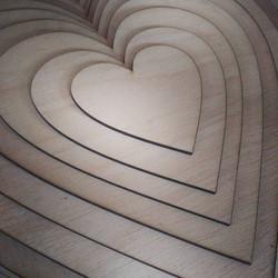 Wooden heart cutting