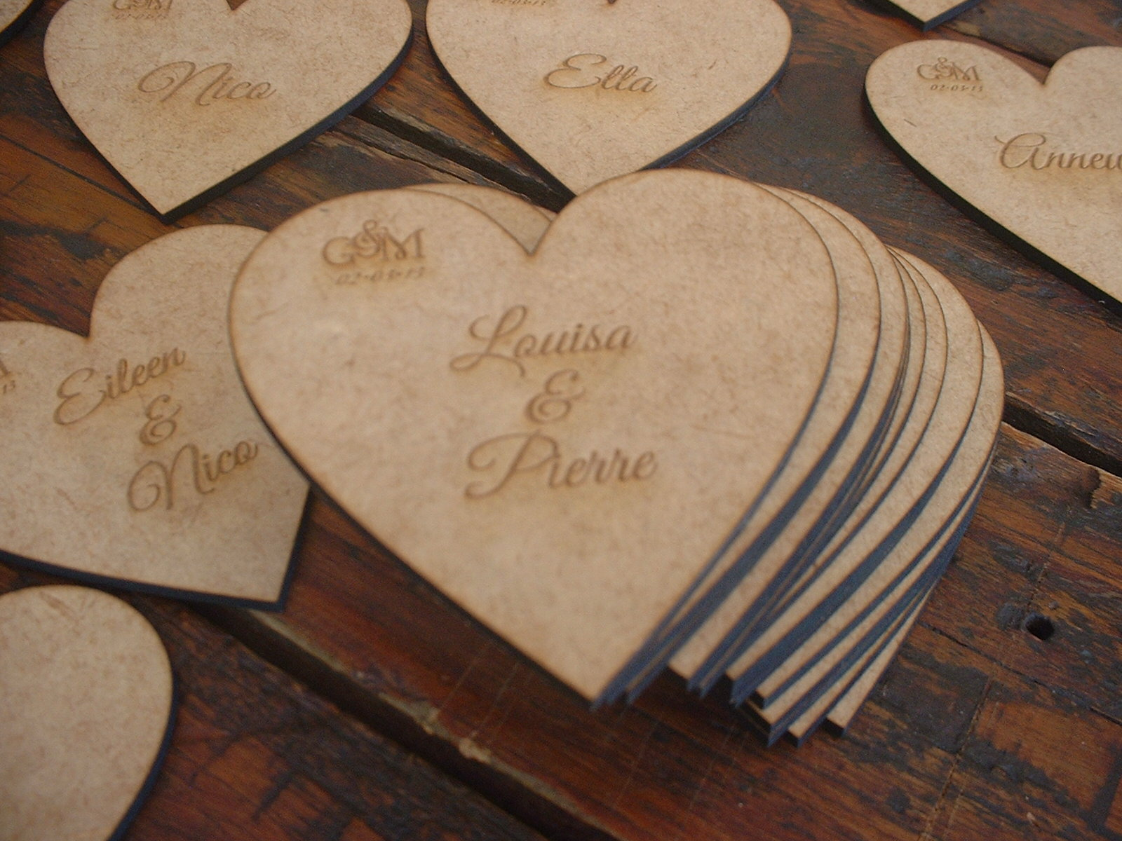 Laser cut and engraved hearts