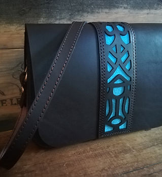 Leather POP Genuine leather handbag. Chocolate and Teal
