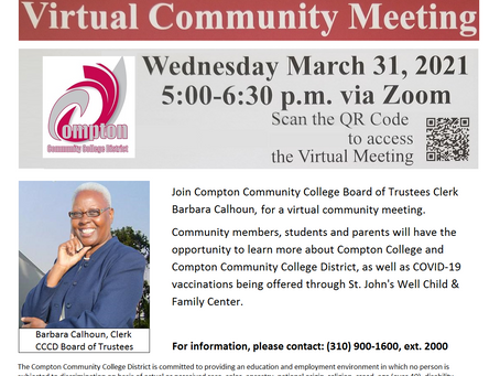Compton Community College Virtual Community Meeting - March 31 at 5:00 PM