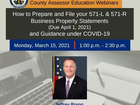 Webinar on Mar. 15 @ 1:00 PM: Preparation & Filing of Business Property Statements