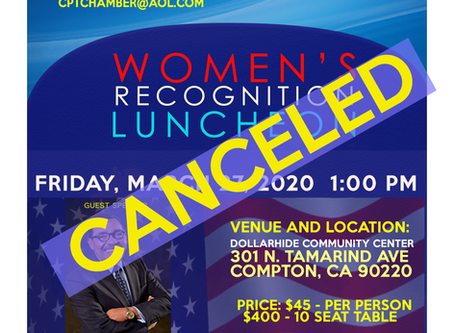 "March 25th ""Women's Recognition Luncheon"" CANCELED"