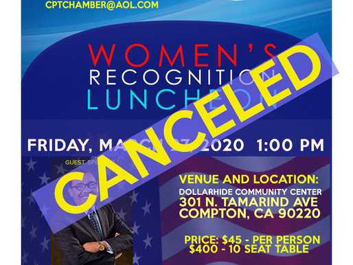 """March 25th """"Women's Recognition Luncheon"""" CANCELED"""