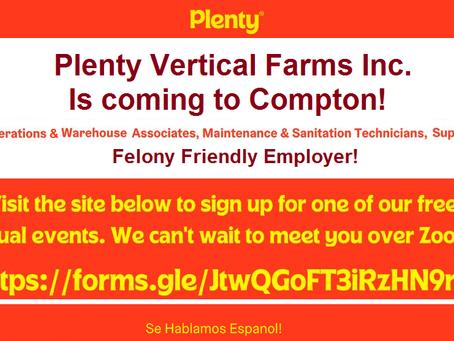 Employment Opportunities With Plenty; Felony Friendly Employer