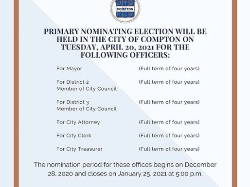 NOTICE OF April 20, 2021 ELECTION in Compton