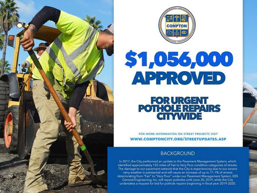 City of Compton approves $ 1 Million  for citywide EMERGENCY pothole repairs!