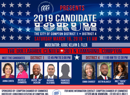 Compton City Council Candidates Forum; Districts 1 & 4 Elections