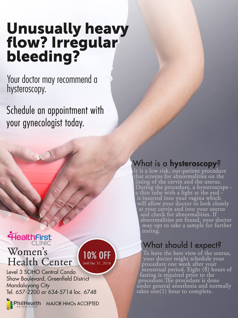 HealthFirst Clinic Women's Health Center: HYSTEROSCOPY at 10% OFF