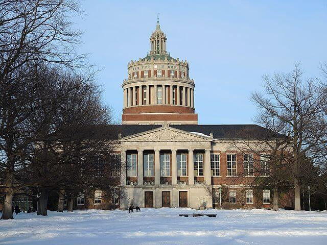 Rush Rhees Library in Winter Oblique From Left