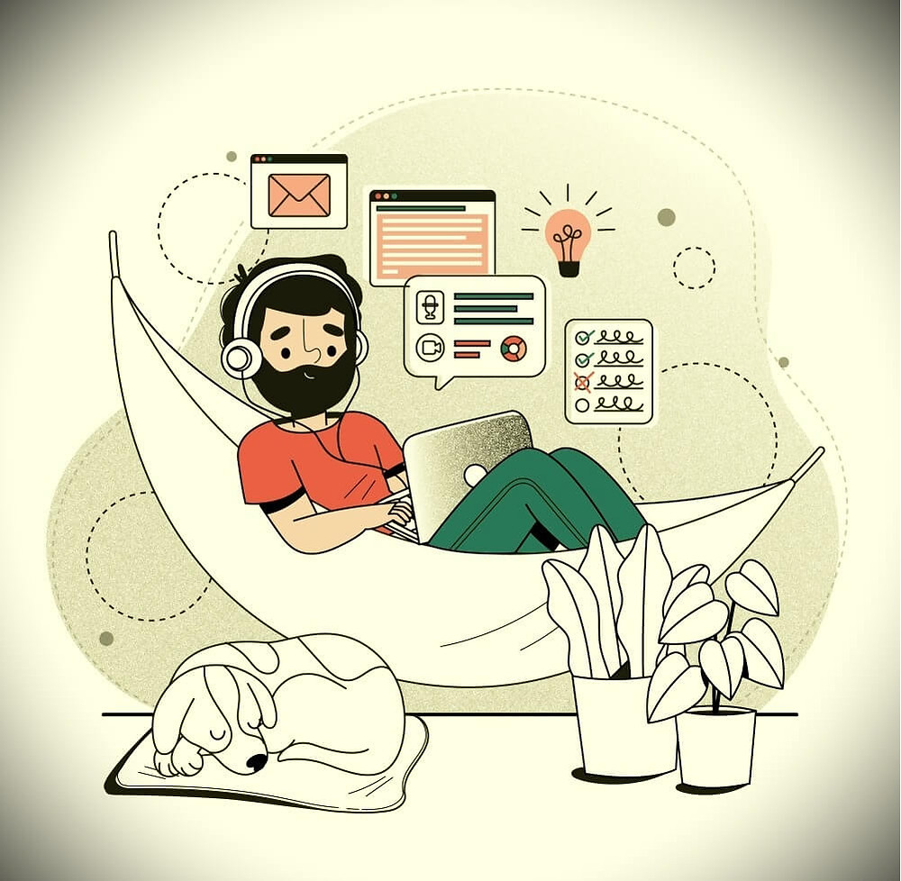 Working From Home Is It Losing Efficacy - cartoon showing a person siting with laptop, using headphones, with a pet near by, working from home