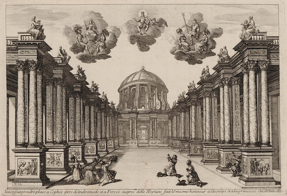 Set design for Andromedé by Pierre Corneille, (1650)