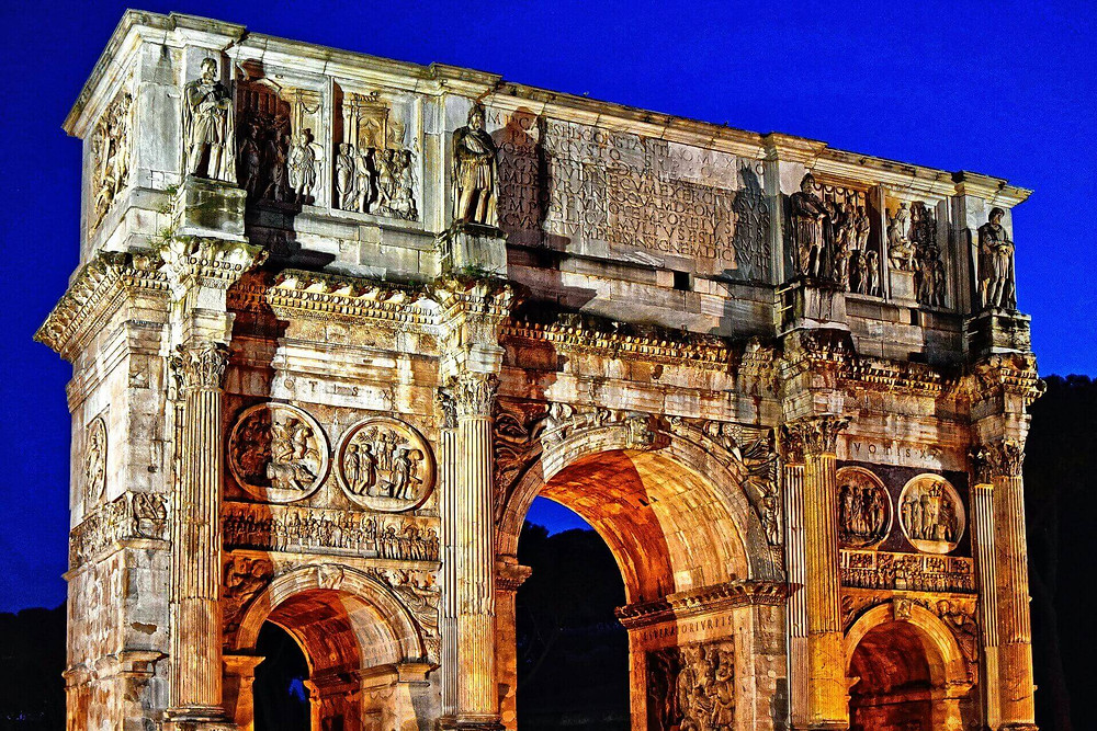 The Arch Of Constantine Roman emperors commonly glorified the exquisite achievements and triumphs in their time.