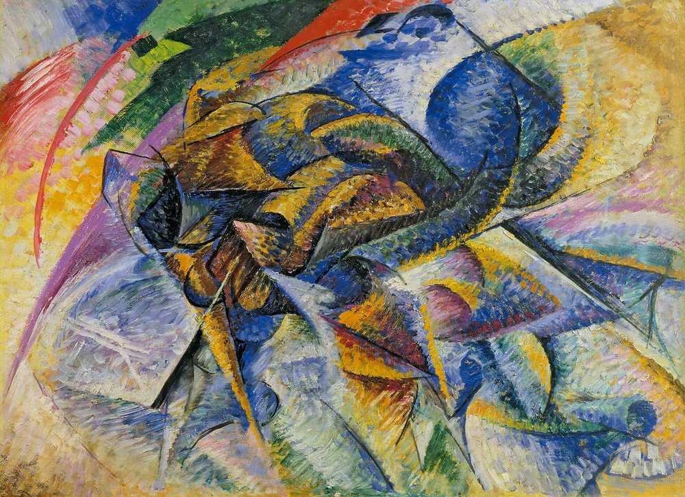 Umberto Boccioni, 1913, Dynamism of a Cyclist (Dinamismo di un ciclista), oil on canvas, 70 x 95 cm, Gianni Mattioli Collection, on long-term loan to the Peggy Guggenheim Collection, Venice