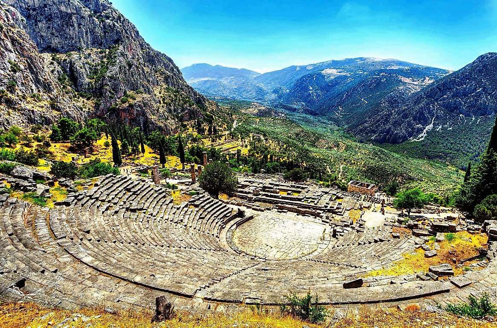 Theatre of Delphi, Delphi It was originally built in the 4th century BC but was remodeled on several occasions, particularly in 160/159 B.C The theatre could accommodate about 4,500 spectators.