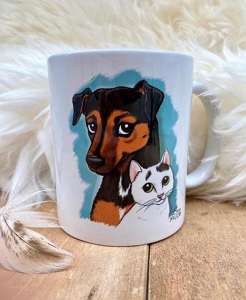 Mug avec le portrait cartoon de votre compagnon